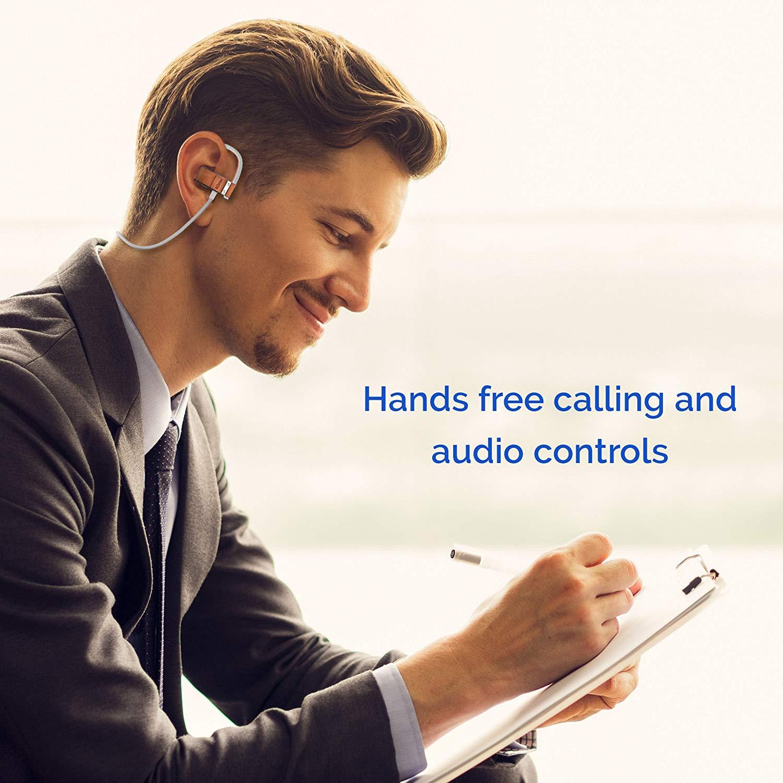 dca79ef8fca $49. BÖHM S6 Leather Bluetooth Headphones Wireless in-Ear Earbuds  Sweatproof Secure Fit Earphones 3D Stereo Sound ...